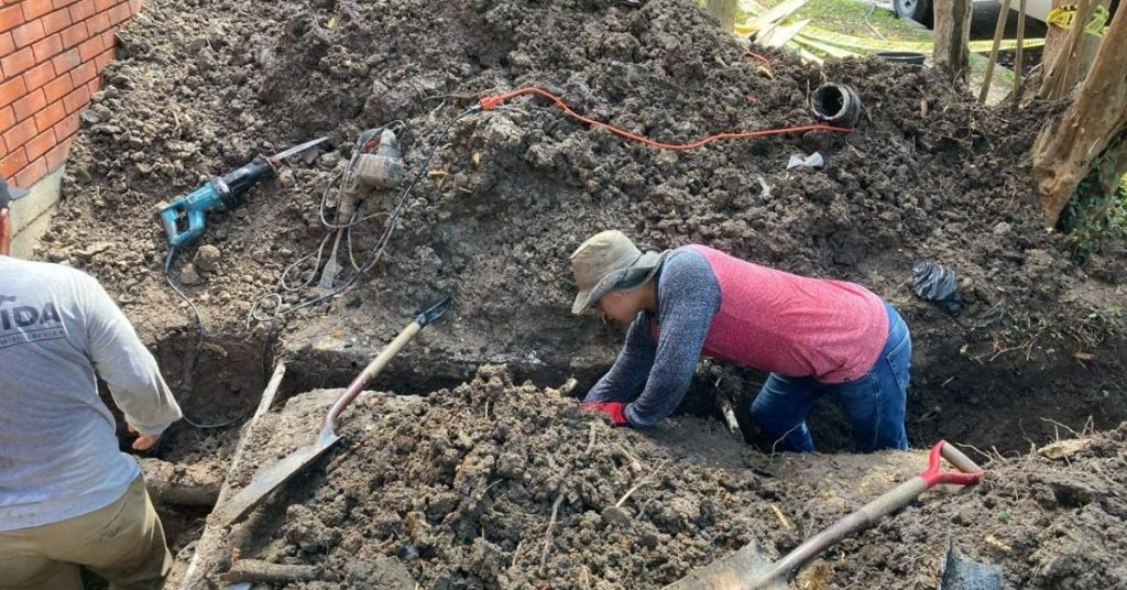 digging a trench for a pipe